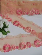 """1.5"""" Light Peach / Pink Rose Embroidered Lace Trims Shell Edge-Per Yard -T634"""