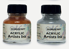 Set Of Gold & Silver Acrylic Ink 2 x 30ml Bottles Artist Calligraphy Dip Pen