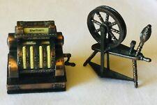 Durham Ind. Vintage Cast Metal Miniatures- Cash Register And Spinning Wheel