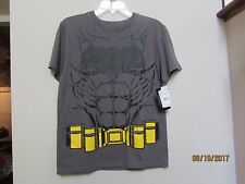 New Boys size Xl Batman Gray Muscle T-shirt with Black Cape Dawn Justice