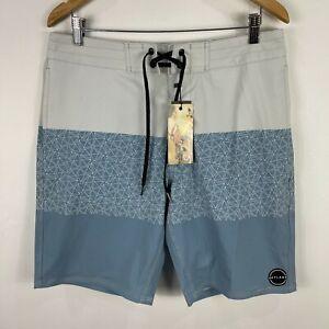 Skylark Mens Board Shorts 34 Multicoloured Drawstring Stretch Zip Pocket