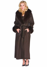 Women's Fox Fur Collar Cashmere Coat Long 10 - Brown