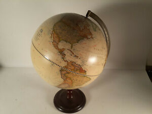 """Vintage National Geographic 12"""" Globe on Mahogany Stand"""