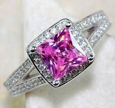 2CT Pink Sapphire & White Topaz 925 Solid Sterling Silver Ring Jewelry Sz 6, M1