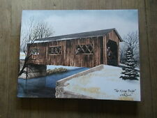 "The Kissing Bridge covered bridge  12 x 16"" Canvas Print by artist Billy Jacobs"