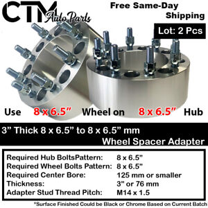 """2PC 3"""" THICK 8x6.5"""" to 8x6.5"""" WHEEL SPACER ADAPTER 14x1.5 STUD FIT GMC&HUMMER"""
