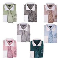 Men's Mini Plaid/Check Fashion  Dress Shirt With Tie & Hanky French Cuff AH-624