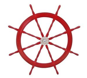 "36"" Big Ship Steering Wheel Red Wooden Antique Teak Brass Nautical Pirate Ship's"
