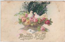 CPA FANTAISIE  AJOUTIS Bonne fête corbeille fleurs colombes ca1906