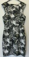 Tokito Womens Black/White Palm Print Sleeveless Dress with Back Zipper Size 8