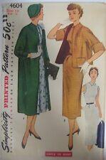 Vintage 50's Simplicity 4604 SLEEVELESS DRESS & COAT Sewing Pattern Women Sz 14