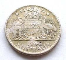 AUSTRALIA FLORIN 1946, GEORGE VI, .500 SILVER, VF ATTRACTIVE GOLDEN TONE. KM#40A