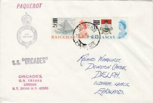 BAHAMAS STAMPS ON 1968 SS ORCADES COVER POSTED DURBAN PAQUEBOT