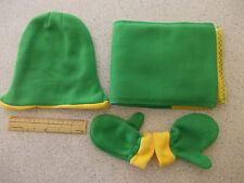 In pile bambino/neonato Cappello, Guanti e Sciarpa Set-verde con finiture GIALLE (#1233)