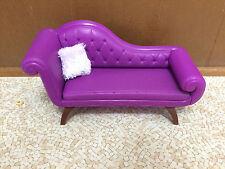 Barbie Doll Elegant Purple Sofa Chaise Couch Light Purple Fuzzy Throw Pillow