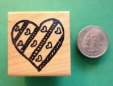 Heart/Hearts, Hand-drawn, Wood Mounted Rubber Stamp - Shrinky-Dink
