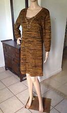 8c6b3f74710f7 SPENSE Womens Size Large Striped Tunic Mini Sweater Dress 3 4 Sleeve