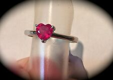 MADAGASCAN RUBY SILVER RING HEART SHAPE! 'CERTIFIED 1.11CT' FAB COLOUR & GLOW