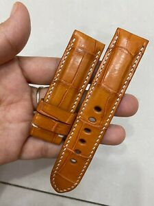 22/22mm GENUIN Tan ALLIGATOR CROCODILE  LEATHER WATCH BAND STRAP FOR PAM