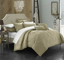 Chic Home Donna 5 Piece Comforter Set Solid Taupe Twin Size New