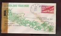 Alaska Territory Dog Sled Team Post CENSORED Cover 1943 Eagle to Dawson, Canada