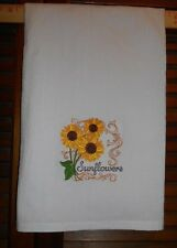 Embroidered Flour Sack Towel SUNFLOWERS, Country,Prim,Autumn,Fall,Sunflower