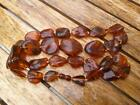 Vintage Bakelite Natural Baltic Amber Beads Necklace Women's Jewelry 75gr Good