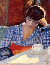 Postcard: Vintage repro- French Woman Reading at Cafe w Dog, Coffee, Bonnard