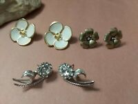 Vintage flower earrings lot white enamel rhinestones brass