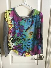 Aeropostale Grey Long Sleeve Floral Shirt Ladies In Size Small
