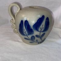VINTAGE 1994 SALMON FALLS STONEWARE Artisan Pottery Dover NH Ribbon Handle Vase