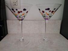 PAMPERED CHEF, Pair of Multi Color Polka Dot Martini Stemware, 2 glasses