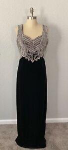 Vtg Stenay Black Velvet Evening Formal Long Silver Beaded Embellished Dress 16