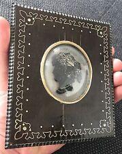 Portrait miniature en bronze et argent vers 1850