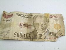 VINTAGE Turchia 5000000 TURK LIRASI BANCONOTA LIRA BES MILYON Banca Nota Soldi