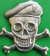SPECIAL  FORCERS  ??  SKULL & CROSS BONES  (wearing beret)  PIN  BADGE  (unused)