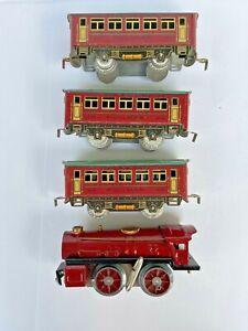 Vintage 1920-30s IVES Wind up Train Red Engine & 3 Passenger Cars set, USA,Works