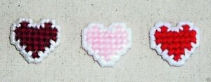 PINS HEART SHAPED~Handcrafted~Red~Pink~Burgundy~Finished Back~Colors Vary~NEW