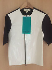 Marni at h&m GIACCA DI PELLE VERNICE BIANCA PELLE JACKET LEATHER EUR 42 size US 12 UK 16