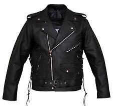 Mens Leather Marlon Brando Belted Biker Leather Motorcycle Jacket Split