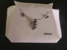 STERLING SILVER NECKLACE+MARCASITE HEART PENDANT+MATCHING STUD EARRINGS*SALE