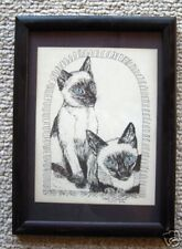 Two Siamese Cats Large Print 8-1/2 x 11 Ready 4 Framing