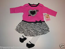 Baby Essentials Dress & Matching Tights with Faux Mary Jane Footies ~ 3 Mon ~NWT