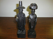 "Korean Wood Figures---Hand Carved---Set Of 2---10"" Tall---Approx. 1950's"