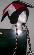NEW fleece jester snowboarding hat red,wht,black w/ties