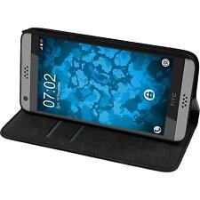 Kunst-Lederhülle für HTC Desire 530 Book-Case schwarz + 2 Schutzfolien