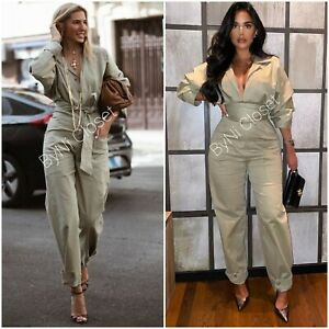ZARA LONG BELTED KHAKI GREEN JUMPSUIT  REF. 4661/337