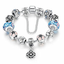 European S925 Glass Bead Charms Bracelets With Crystal Fit Women Bangle Jewelry