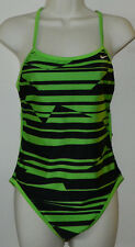 New Women Nike Reversible Multicolor Green Black Swimsuit One-Piece 36 / 10 NWT