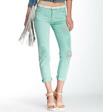 HUDSON NWT 27 Skinny Slim Ex Boyfriend Crop Distressed Leigh Mint Green Jeans